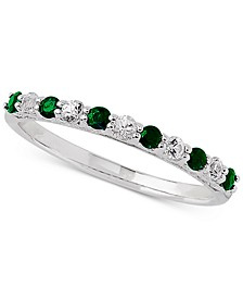 Emerald (1/4 ct. t.w.) & White Sapphire Ring (1/4 ct. t.w.) in 14k White Gold