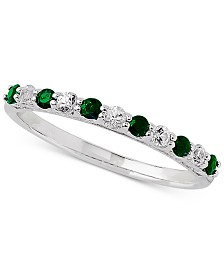 Emerald (1/4 ct. t.w.) & White Sapphire Ring (1/4 ct. t.w.) in 14k White Gold