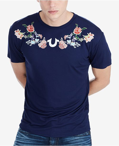089c577589f True Religion Men's Floral-Embroidered T-Shirt & Reviews - T-Shirts ...
