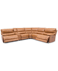 Woodyn 6-Pc. Leather Sectional Sofa With 2 Power Recliners, Power Headrests, Lumbar, Console And USB Power Outlet