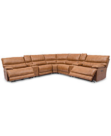 Woodyn 7-Pc. Leather Sectional Sofa With 2 Power Recliners, Power Headrests, Lumbar, 2 Consoles And USB Power Outlet