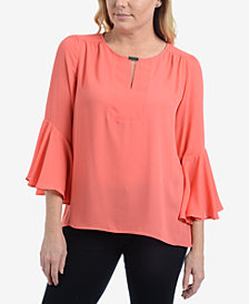 NY Collection Embellished Bell-Sleeve Top