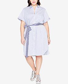 RACHEL Rachel Roy Trendy Plus Size Striped Shirtdress