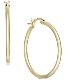 Medium Plated Polished Tube Medium Hoop Earrings