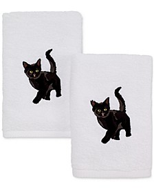 Cotton 2-Pc. Black Cat Embroidered Hand Towel Set