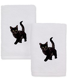 Avanti Cotton 2-Pc. Black Cat Embroidered Hand Towel Set