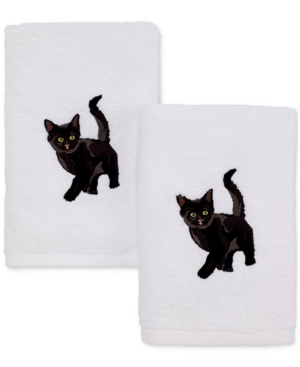 Avanti Cotton 2Pc Black Cat Embroidered Hand Towel Set Bedding