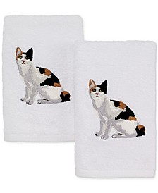 Cotton 2-Pc. Calico Cat Embroidered Hand Towel Set