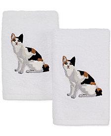 Avanti Cotton 2-Pc. Calico Cat Embroidered Hand Towel Set