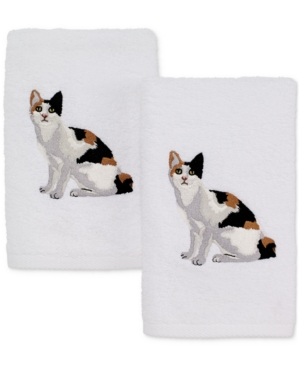 Avanti Cotton 2Pc Calico Cat Embroidered Hand Towel Set Bedding