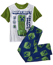 Minecraft 2-Pc. Creeper Drops Pajama Set, Big Boys, Created for Macy's