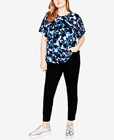 RACHEL Rachel Roy Trendy Plus Size Printed Batwing-Sleeve Top