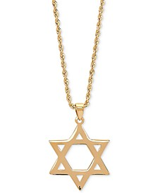 "Star of David 20"" Pendant Necklace in 14k Gold"