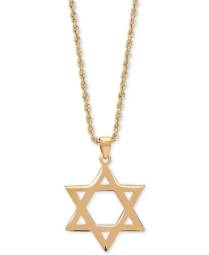 """Macy's - Star of David 20"""" Pendant Necklace in 14k Gold"""