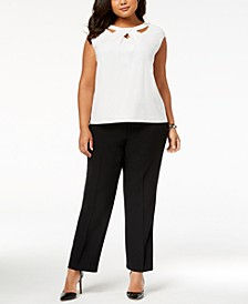 Plus Size Crossover Cutout Top	 & Straight-Leg Pants
