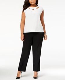 Kasper Plus Size Crossover Cutout Top & Straight-Leg Pants