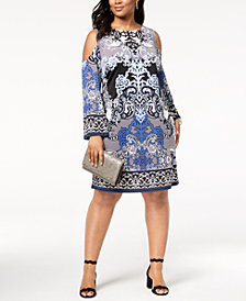 I.N.C. Plus Size Printed Cold-Shoulder Dress, Created for Macy's