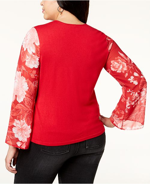 C INC Plus Created Concepts Red Printed N I International Macy's Size Wrap Sweater Sleeve for Real xqwqXCIFr