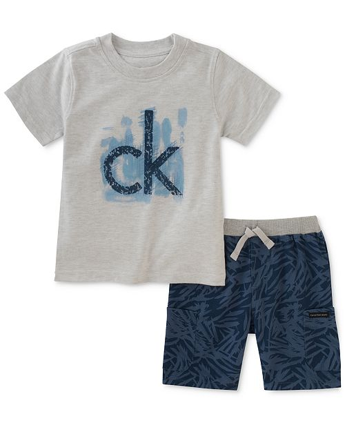 4df253fd0 Calvin Klein 2-Pc. Graphic-Print T-Shirt & Knit Shorts Set, Toddler ...