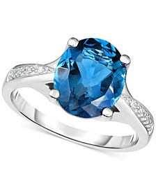 London Blue Topaz (3-5/8 ct. t.w.) & Diamond Accent Ring in 14k White Gold