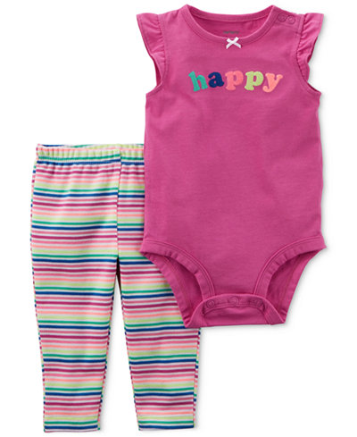 Carter's 2-Pc. Happy Bodysuit & Striped Pants Set, Baby Girls