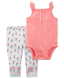 Carter's 2-Pc. Pom-Pom Bodysuit & Printed Pants Set, Baby Girls
