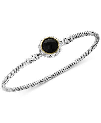 Balissima by EFFY® Onyx Bangle Bracelet in Sterling Silver & 18k Gold