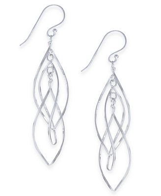 Essentials Large Silver Plated Interlocking Drop Earrings Jewelry Watches - Fashion Jewelry - Macy's
