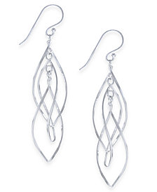 Essentials Large Silver Plated Interlocking Drop Earrings