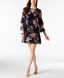 Vince Camuto Printed Ruffle Tiered-Sleeve Dress