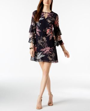 Vince Camuto Printed Tiered-Sleeve Dress 5707457