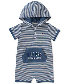 Tommy Hilfiger Striped Hooded Romper, Baby Boys
