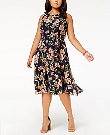 Jessica Howard Plus Size Sleeveless Floral-Print Dress
