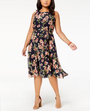 Jessica Howard Plus Size Sleeveless Floral-Print Dress 5882759