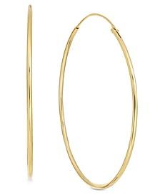 Large Plated Endless Wire Medium Hoop Earrings