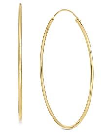 Essentials Large Plated Endless Wire Hoop Earrings