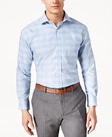 Tasso Elba Men's Classic/Regular Fit Non-Iron Large Glencheck Dress Shirt, Created for Macy's