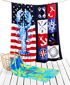 CLOSEOUT! Tommy Hilfiger Cotton Printed Icons Beach Towel Collection