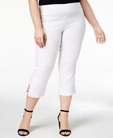JM Collection Petite Plus Size Tummy Control Capri Pants, Created for Macy's