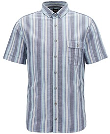 BOSS Men's Slim-Fit Striped Cotton Sport Shirt