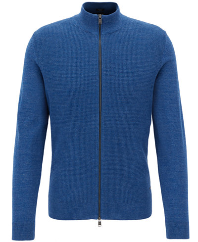 BOSS Men's Waffle-Knit Cotton Full-Zip Sweater