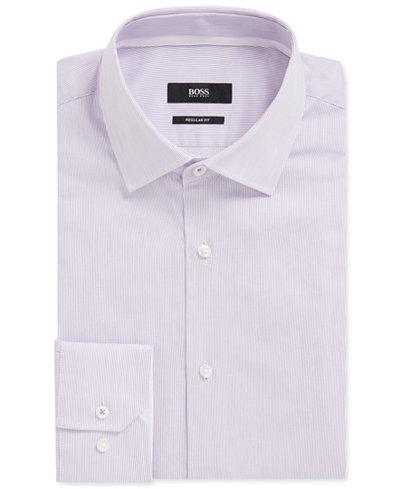 BOSS Men's Striped Cotton Dress Shirt
