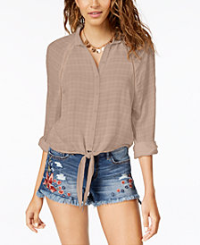 American Rag Juniors' Tie-Front Shirt, Created for Macy's