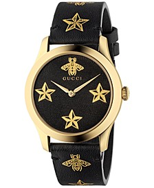 Women's Swiss G-Timeless Black Leather Strap Watch 38mm