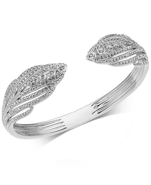 Danori Crystal and Pavé Hinged Bangle Bracelet, Created for Macy's