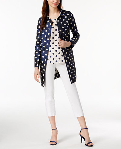 Anne Klein Printed Topper Jacket & Dot-Print Shell