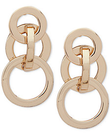 Anne Klein Gold-Tone Interlocking Circles Drop Earrings