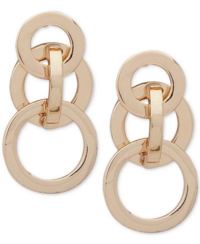 Anne Klein Gold-Tone Interlocking Circles Drop Earrings