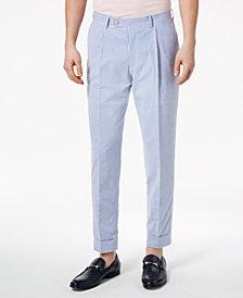 Tallia Orange Men's Slim-Fit Stretch Blue Pleated Stripe Seersucker Dress Pants