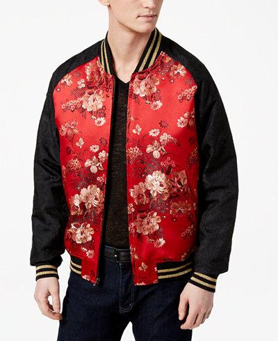 Tallia Orange Men's Slim-Fit Red Floral Embroidered Jacquard Bomber Jacket